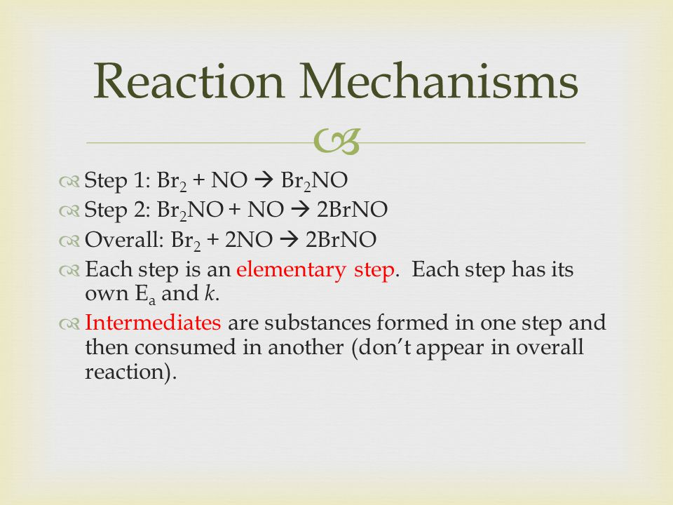 Reaction Mechanisms Step 1: Br2 + NO  Br2NO