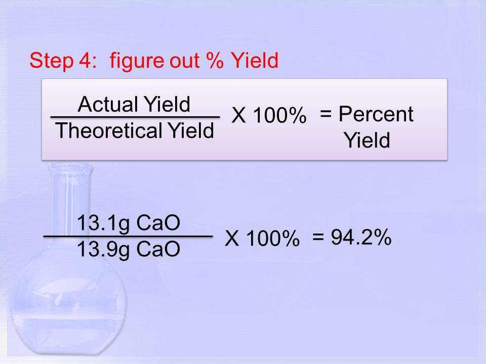Step 4: figure out % Yield