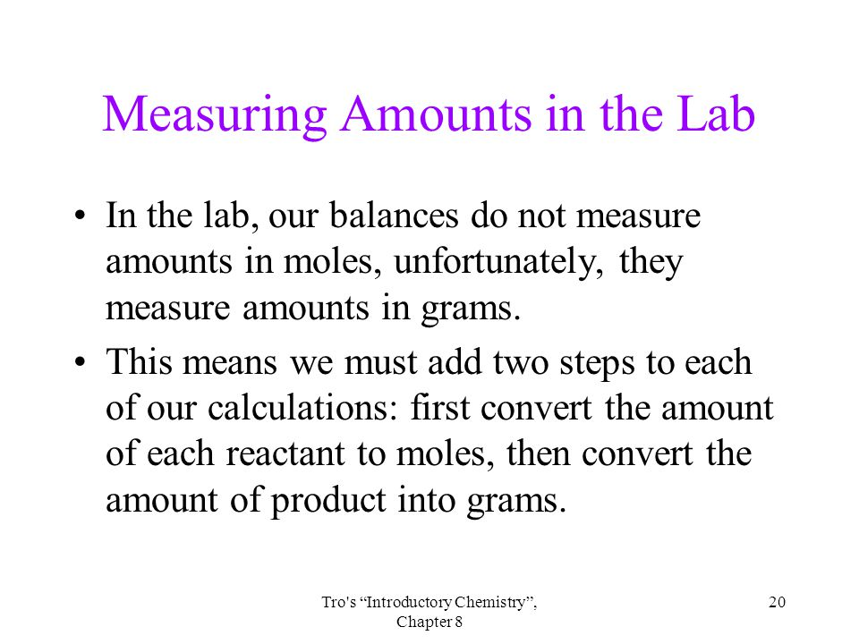 Measuring Amounts in the Lab