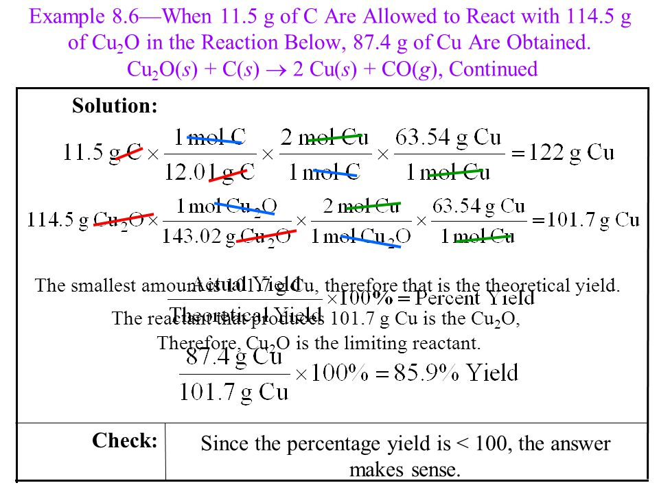 Since the percentage yield is < 100, the answer makes sense.