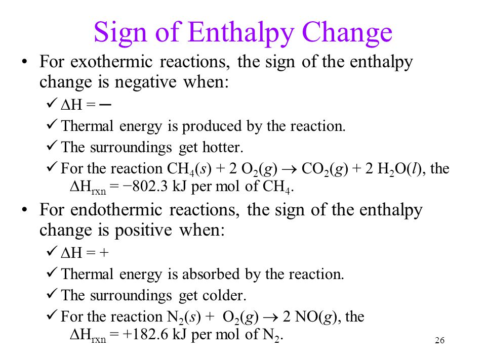 Sign of Enthalpy Change