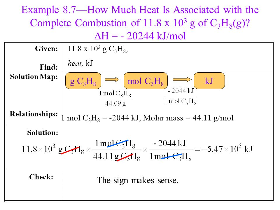 Example 8.7—How Much Heat Is Associated with the Complete Combustion of 11.8 x 103 g of C3H8(g) DH = - 20244 kJ/mol