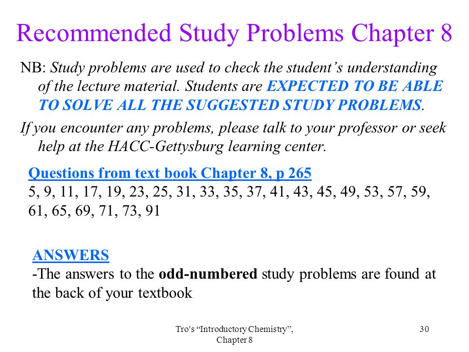 Recommended Study Problems Chapter 8