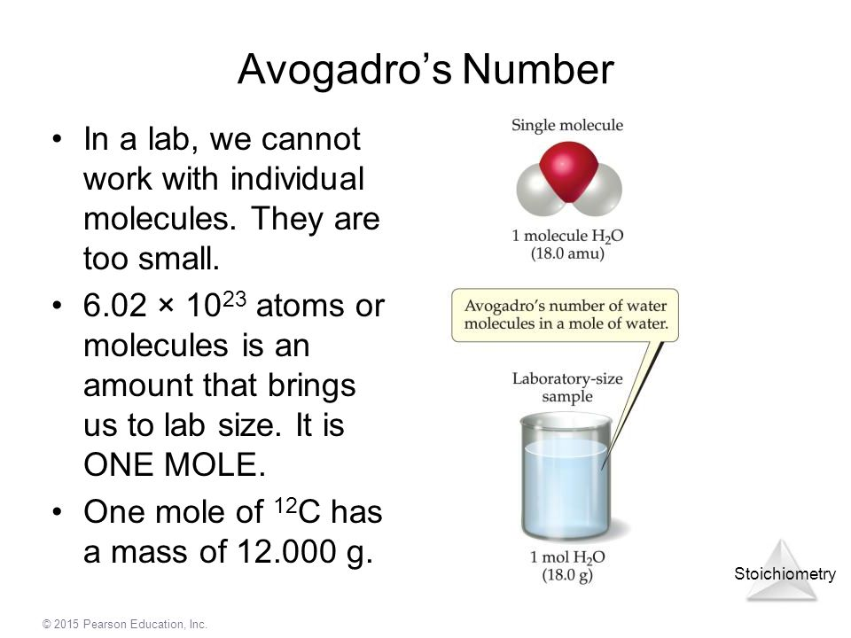 Avogadro's Number In a lab, we cannot work with individual molecules. They are too small.