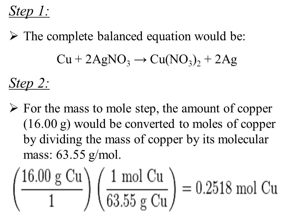 Step 1: Step 2: The complete balanced equation would be: