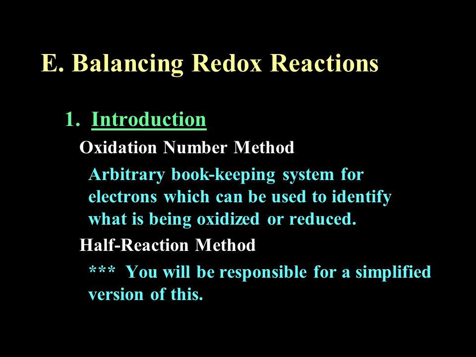 E. Balancing Redox Reactions