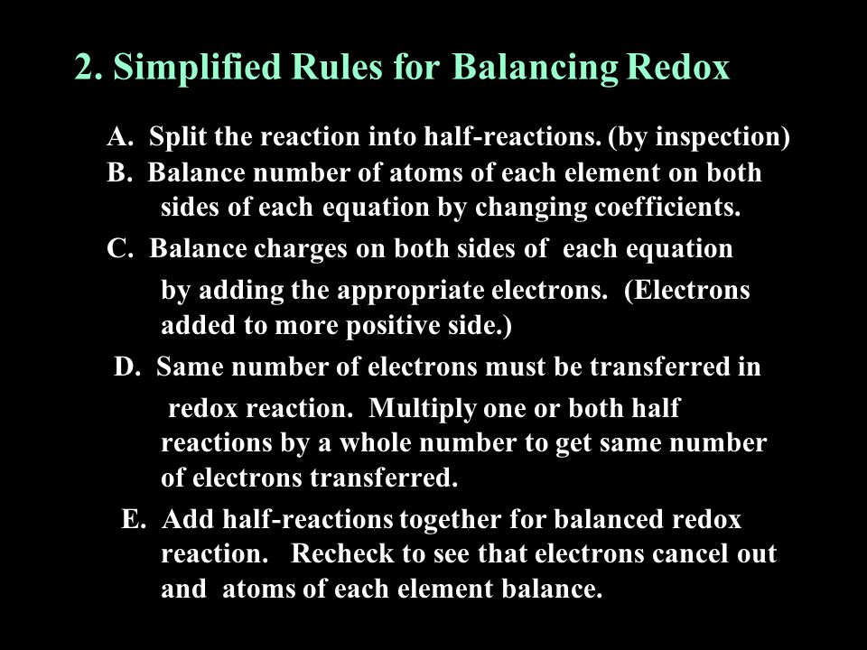 2. Simplified Rules for Balancing Redox