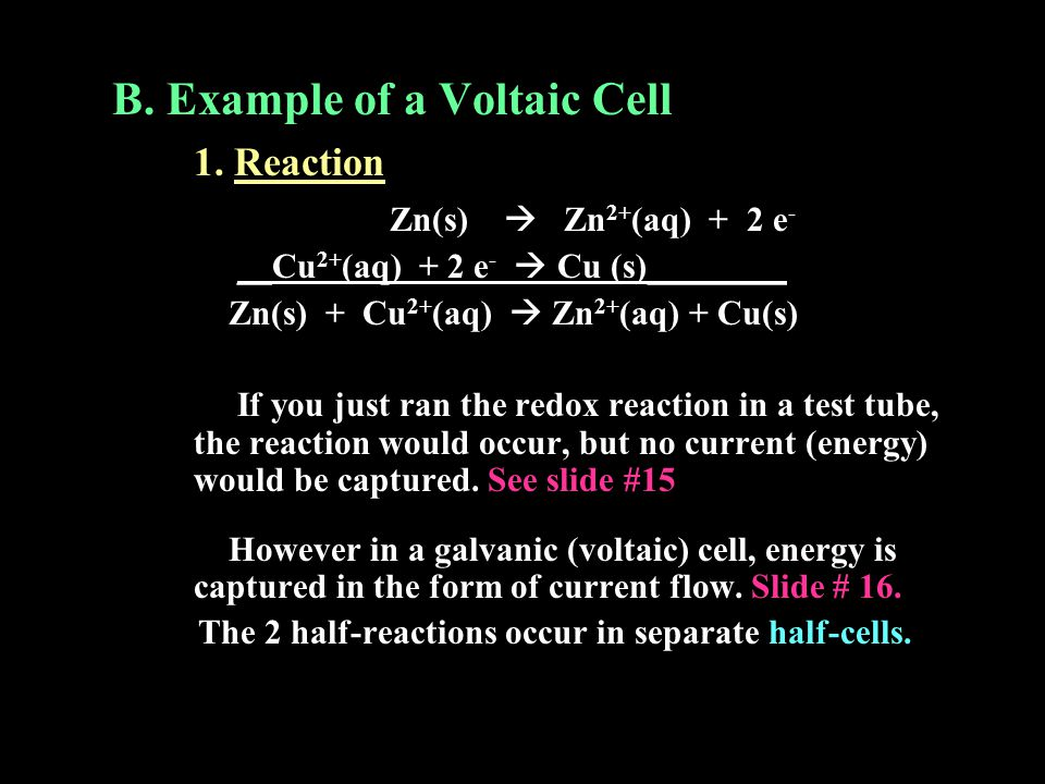 B. Example of a Voltaic Cell 1. Reaction