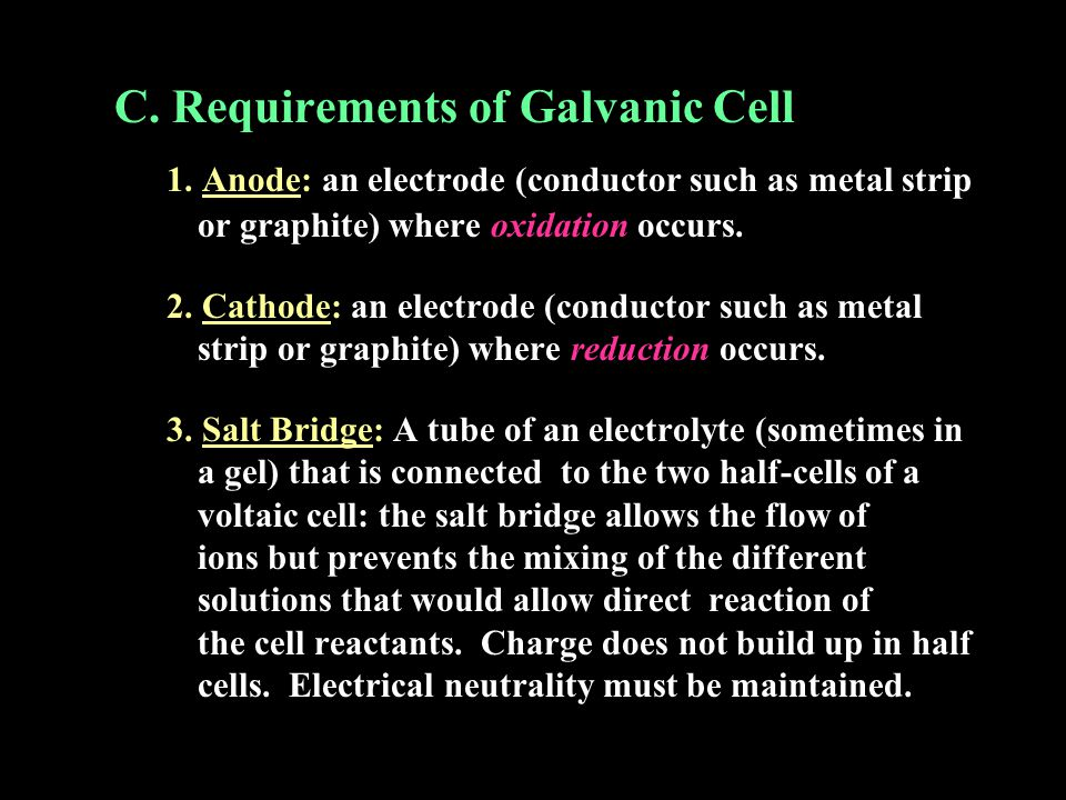 C. Requirements of Galvanic Cell