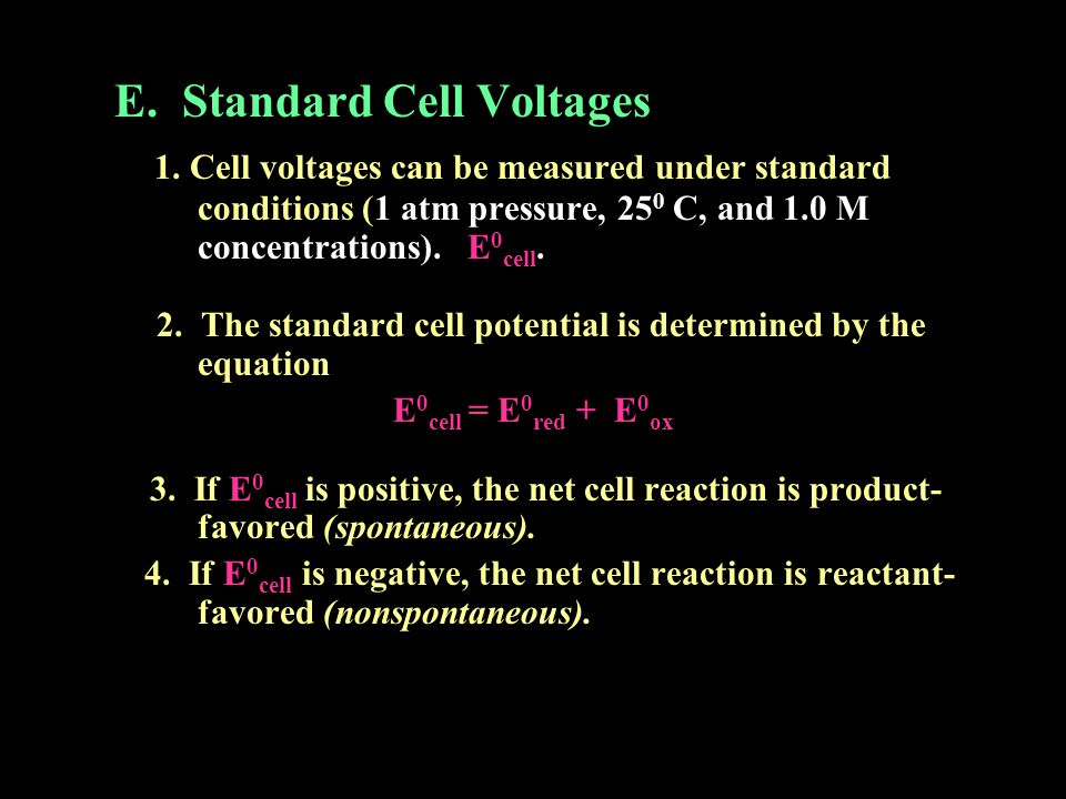 E. Standard Cell Voltages