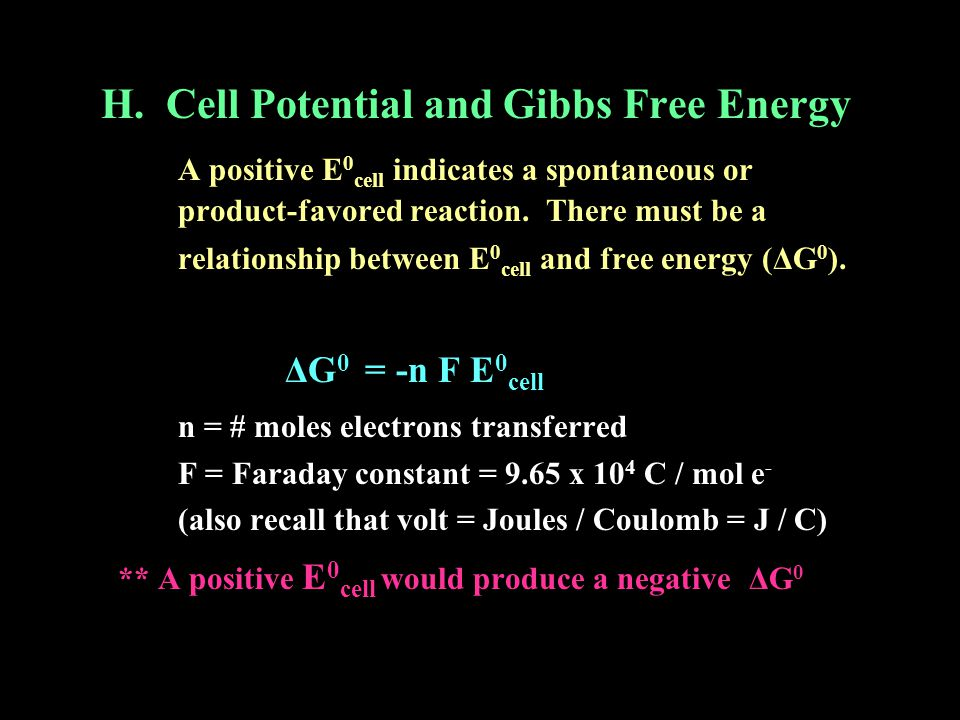 H. Cell Potential and Gibbs Free Energy