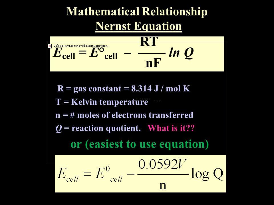 Mathematical Relationship Nernst Equation