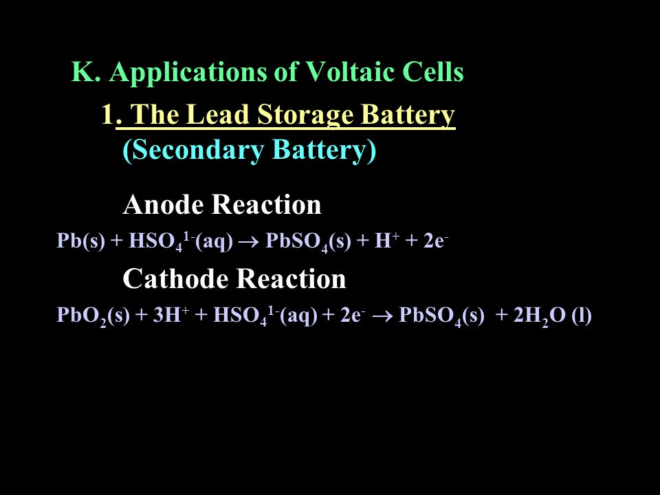 K. Applications of Voltaic Cells