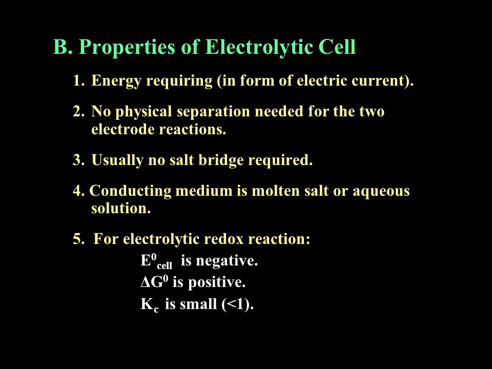 B. Properties of Electrolytic Cell