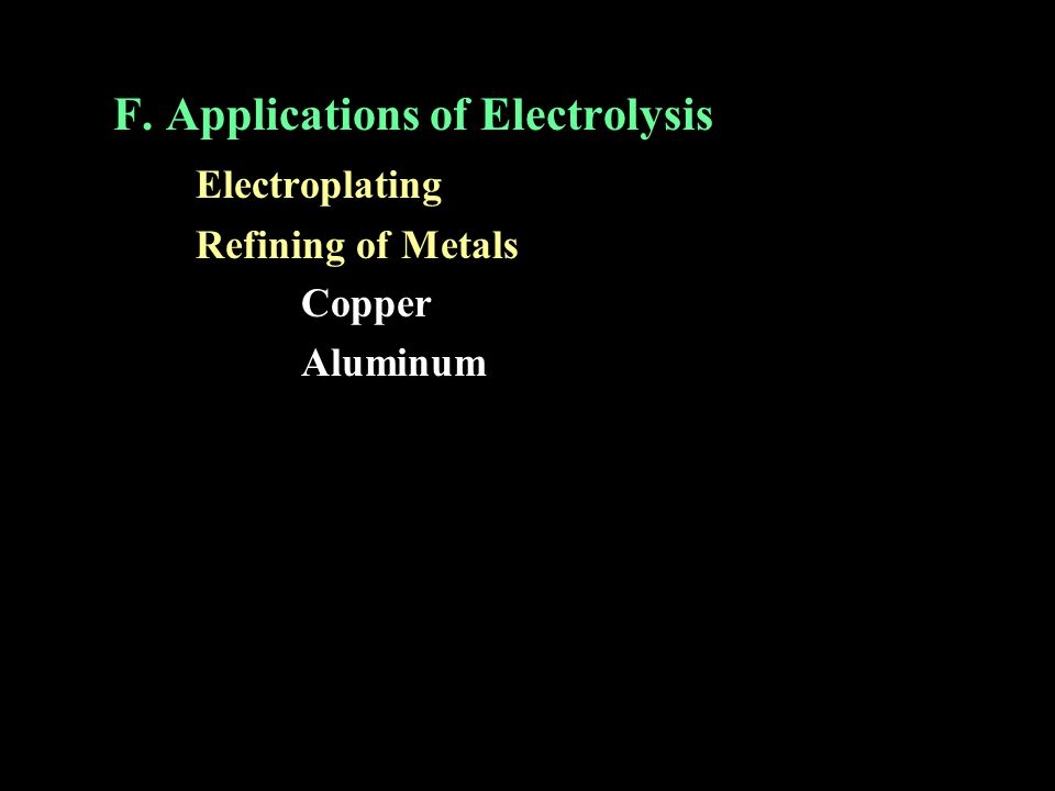 F. Applications of Electrolysis Electroplating