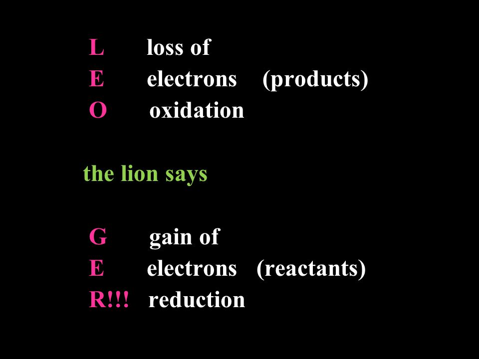 E electrons (products) O oxidation the lion says G gain of