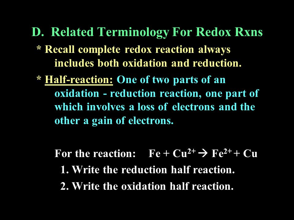 D. Related Terminology For Redox Rxns
