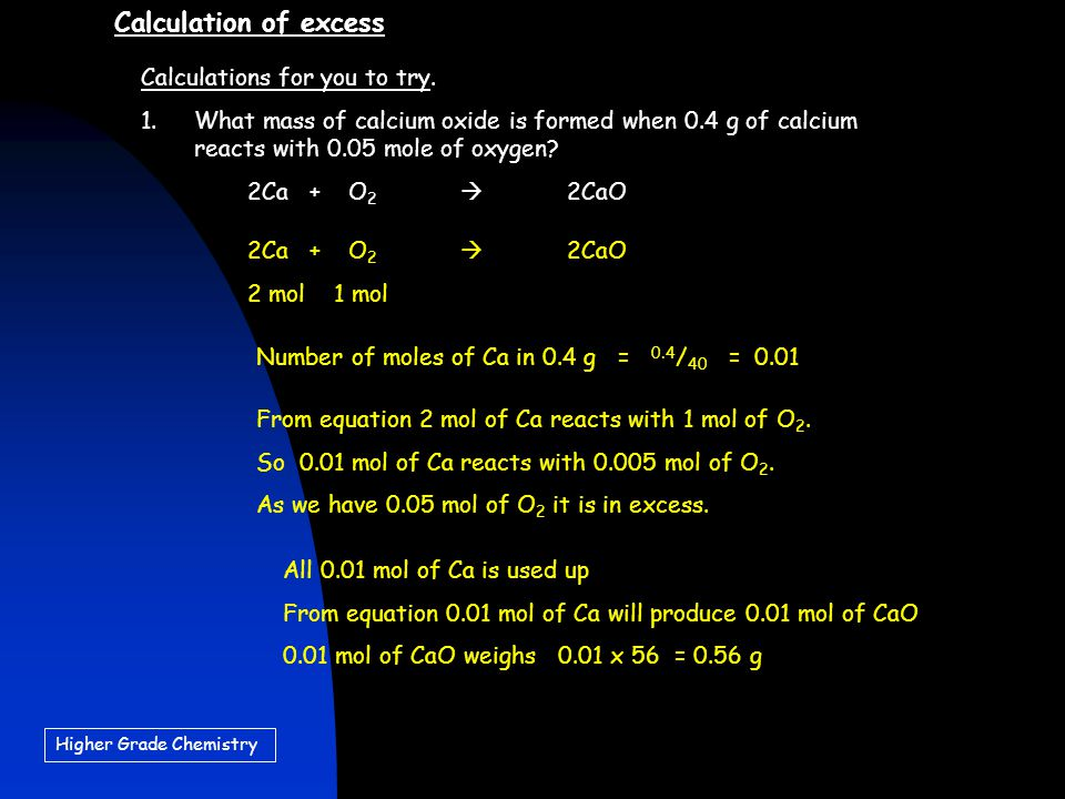 Calculation of excess Calculations for you to try.