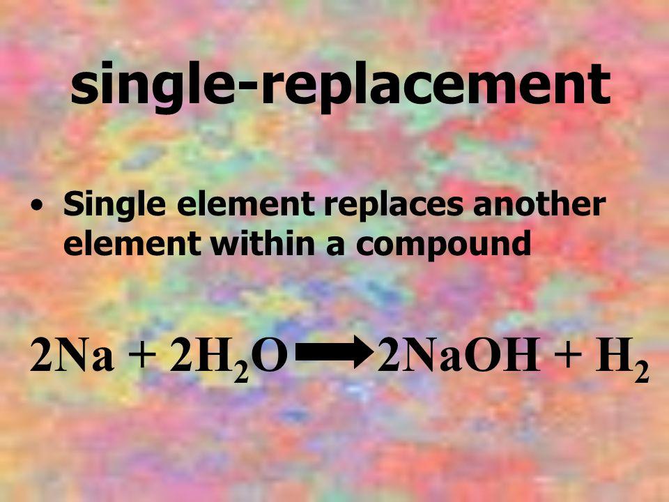 single-replacement 2Na + 2H2O 2NaOH + H2