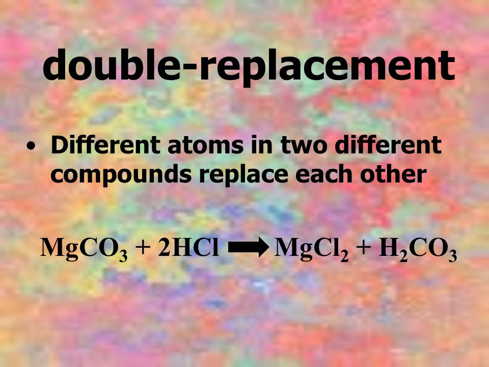 double-replacement Different atoms in two different compounds replace each other.