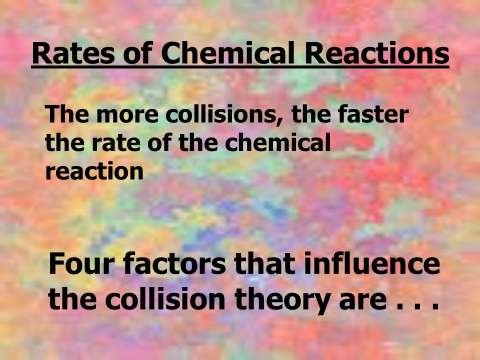 Four factors that influence the collision theory are . . .