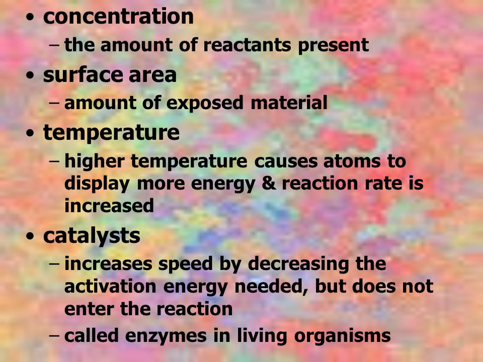 concentration surface area temperature catalysts