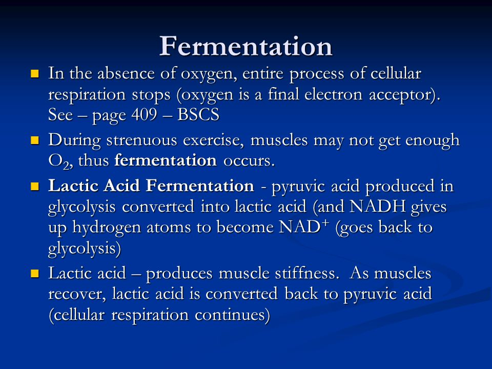 Fermentation In the absence of oxygen, entire process of cellular respiration stops (oxygen is a final electron acceptor). See – page 409 – BSCS.