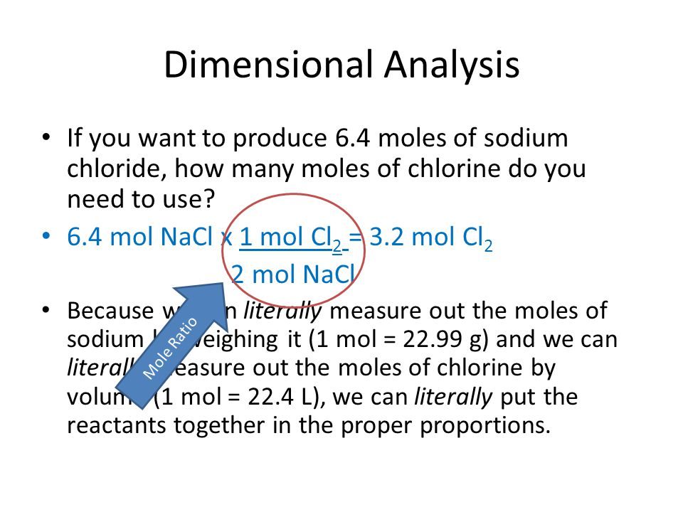 Dimensional Analysis If you want to produce 6.4 moles of sodium chloride, how many moles of chlorine do you need to use