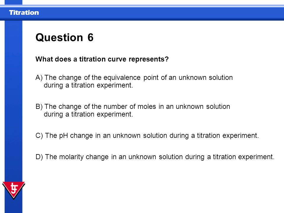 Question 6 What does a titration curve represents