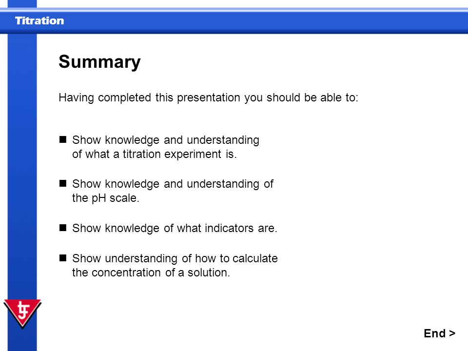 Summary Having completed this presentation you should be able to: