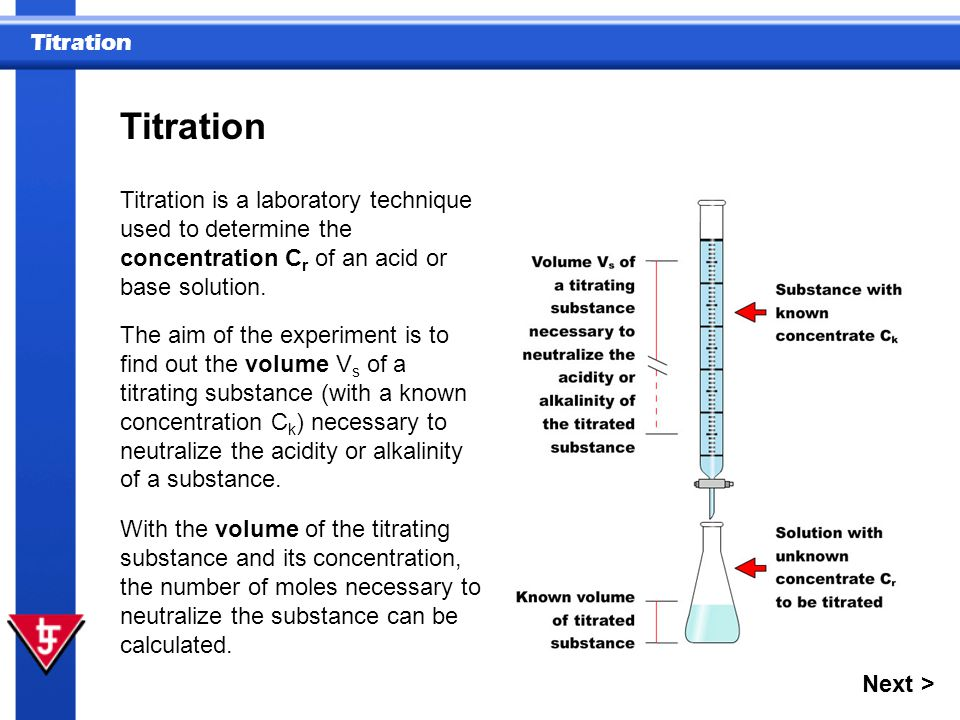Titration Titration is a laboratory technique used to determine the concentration Cr of an acid or base solution.