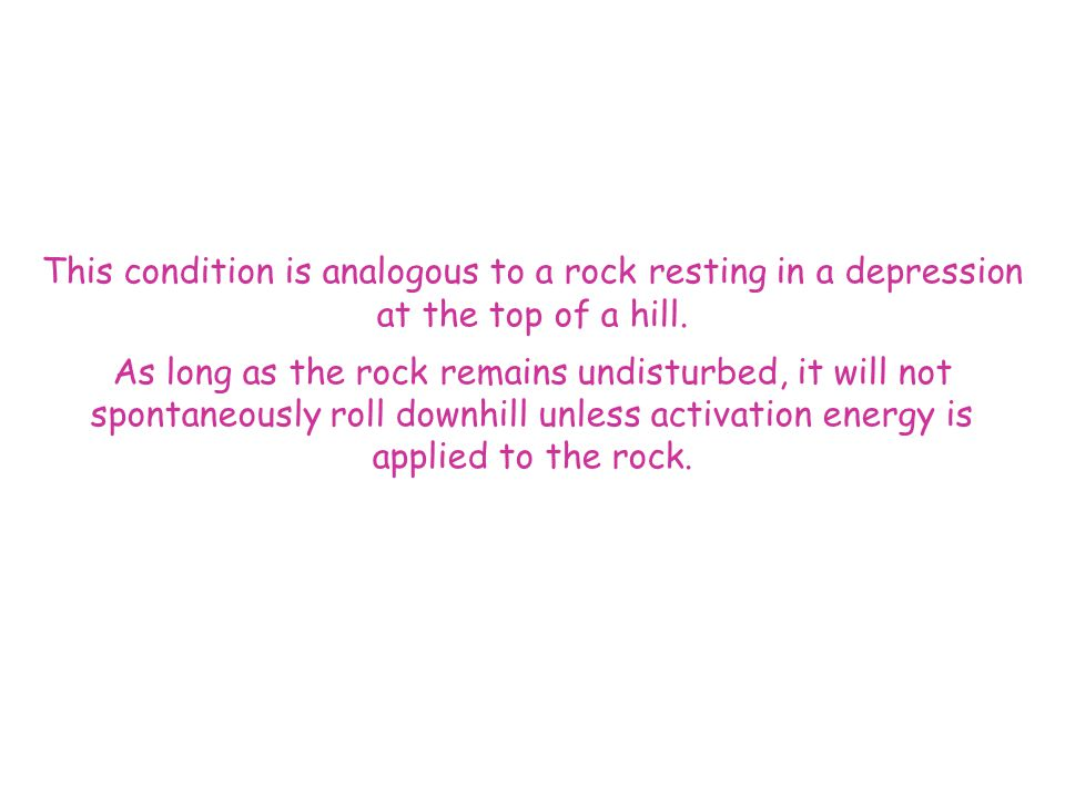 This condition is analogous to a rock resting in a depression at the top of a hill.