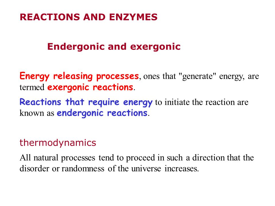 REACTIONS AND ENZYMES Endergonic and exergonic. Energy releasing processes, ones that generate energy, are termed exergonic reactions.