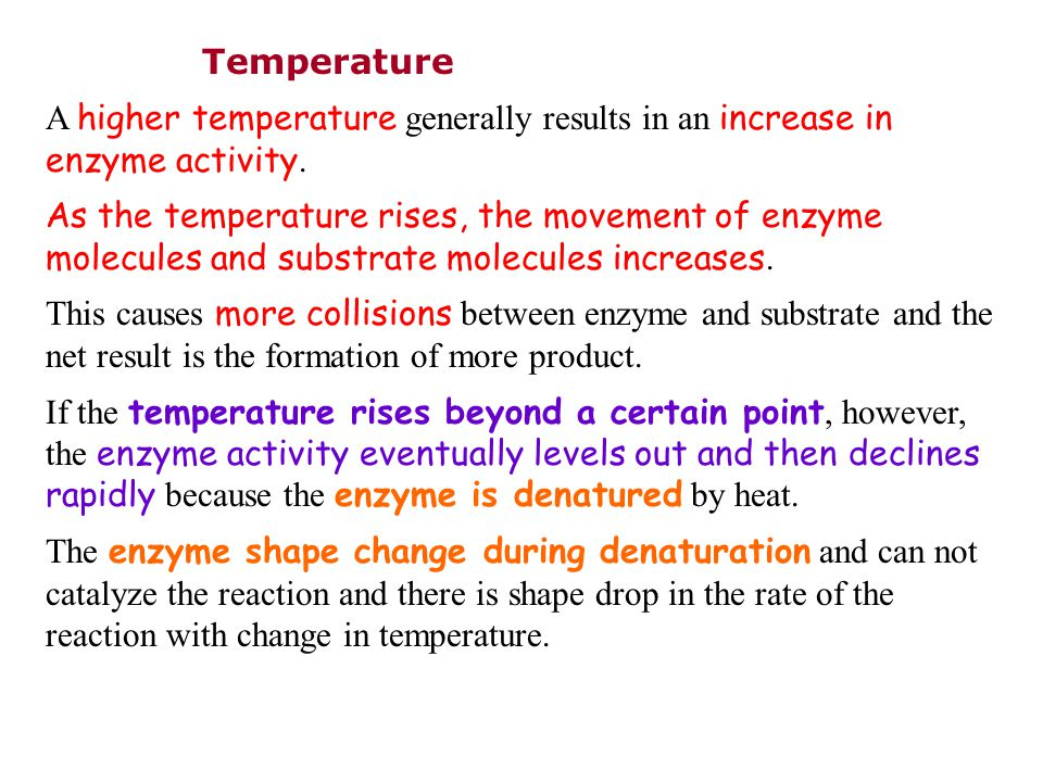 Temperature A higher temperature generally results in an increase in enzyme activity.