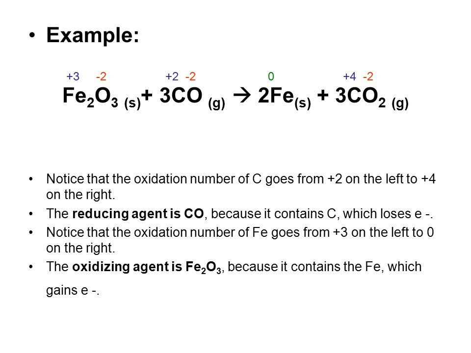 Fe2O3 (s)+ 3CO (g)  2Fe(s) + 3CO2 (g)