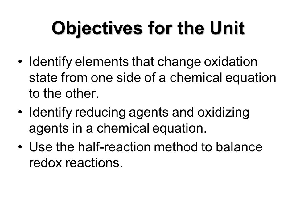 Objectives for the Unit