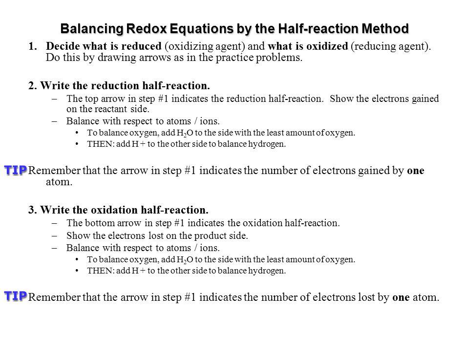Balancing Redox Equations by the Half-reaction Method