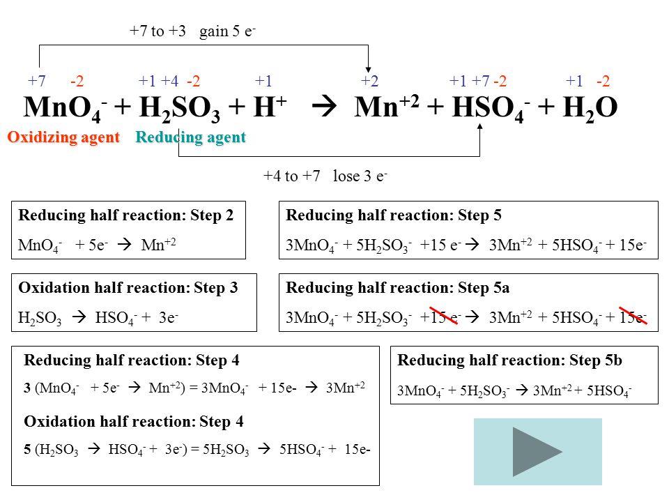 MnO4- + H2SO3 + H+  Mn+2 + HSO4- + H2O