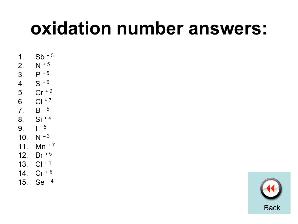 oxidation number answers: