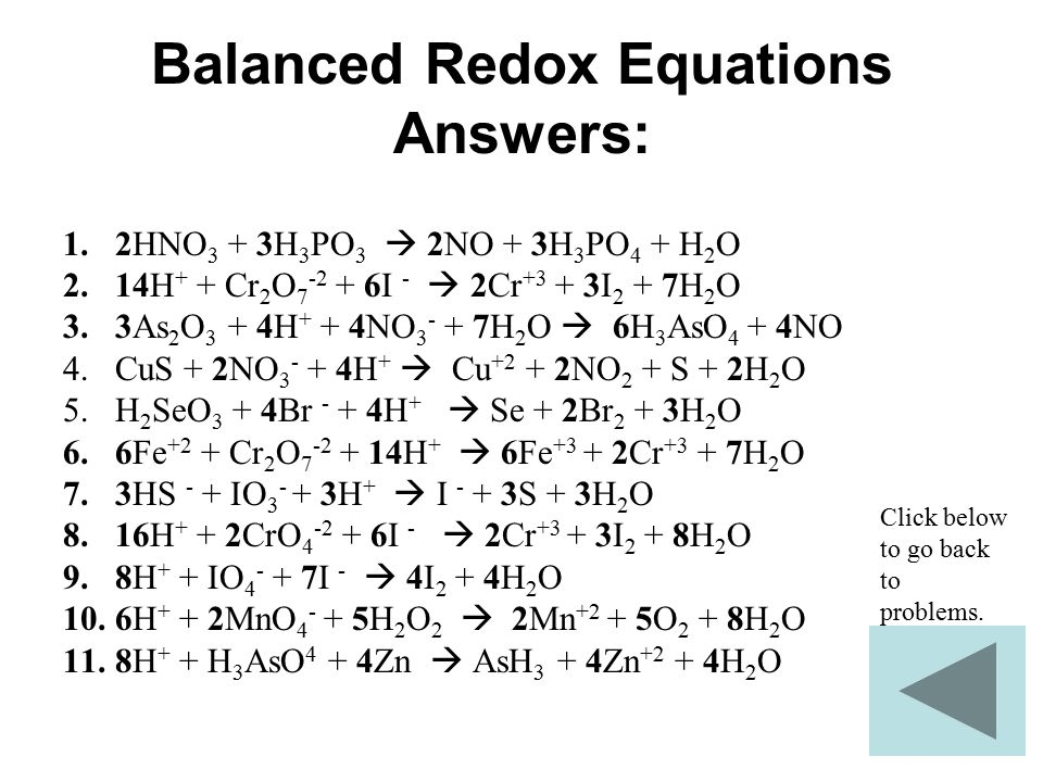 Balanced Redox Equations Answers: