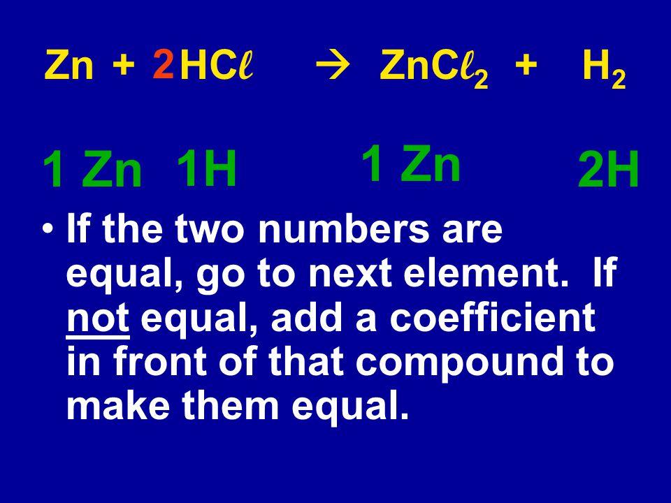 Zn + HCl  ZnCl2 + H2 2. 1 Zn. 1 Zn. 2H. 1H.