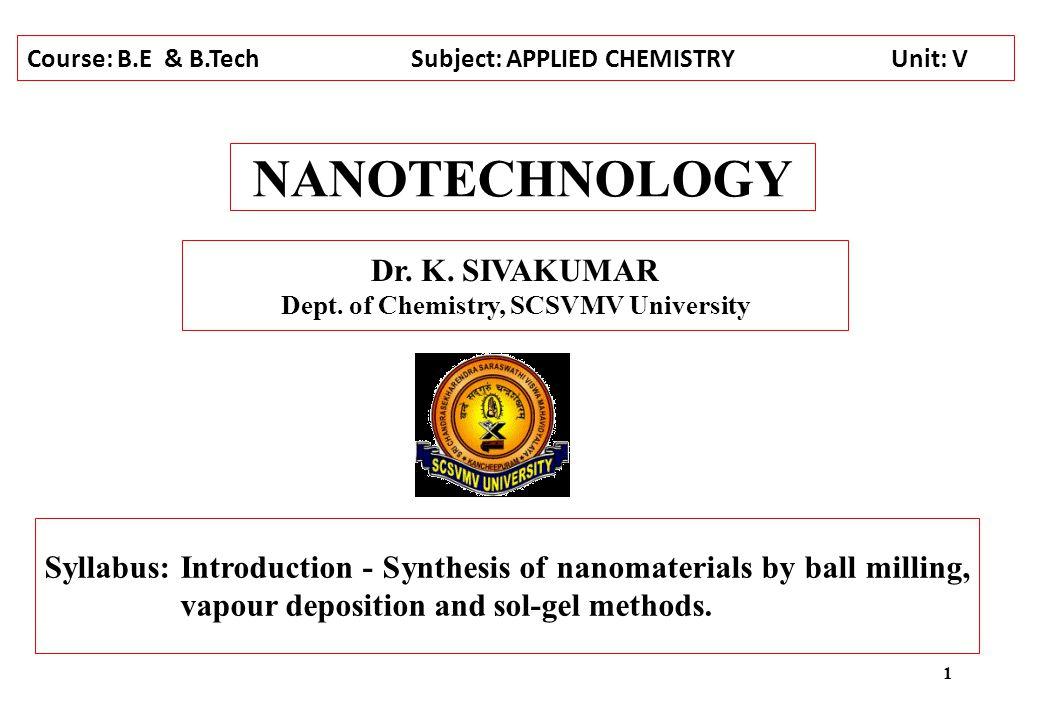 Dept. of Chemistry, SCSVMV University