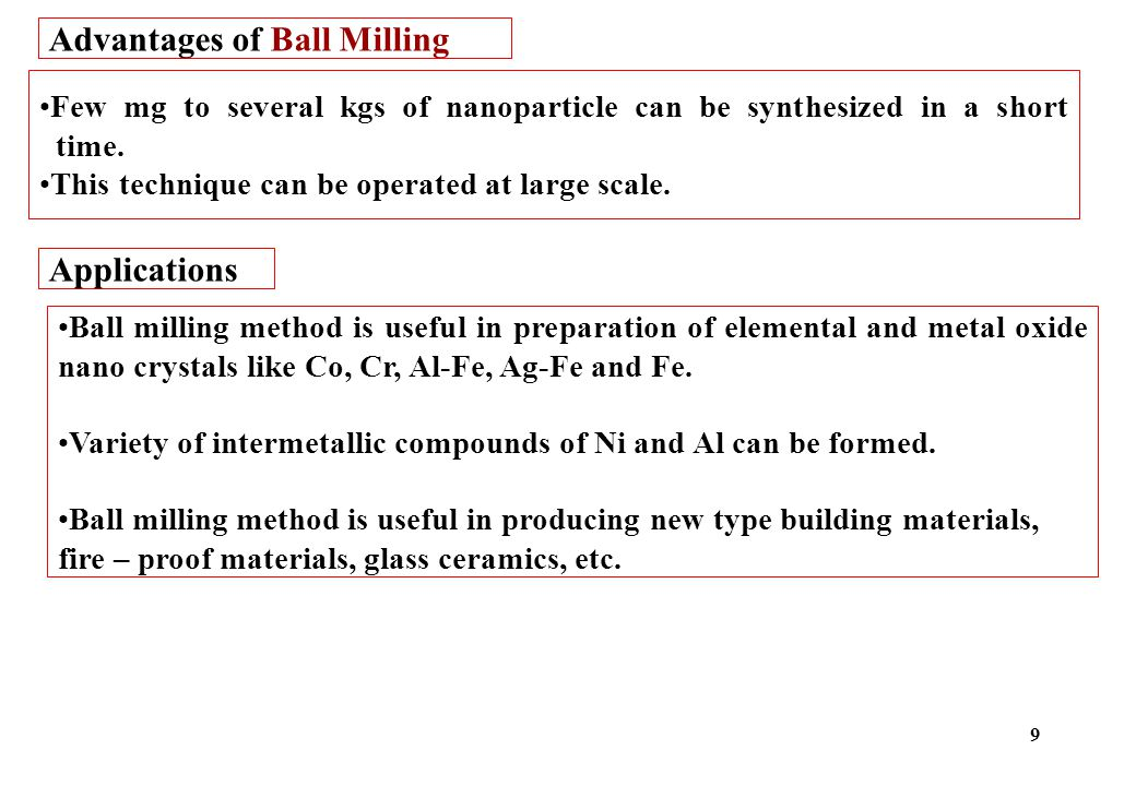 Advantages of Ball Milling