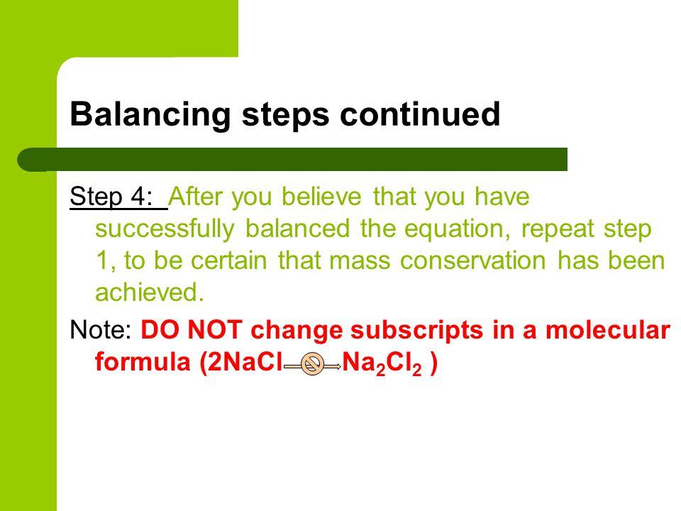 Balancing steps continued