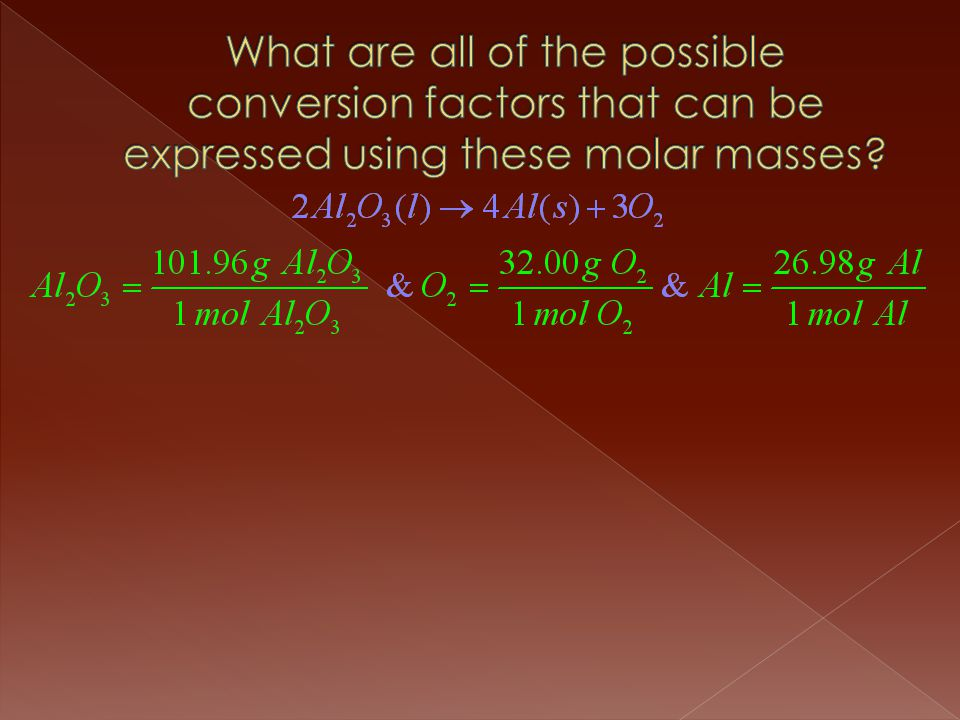 What are all of the possible conversion factors that can be expressed using these molar masses