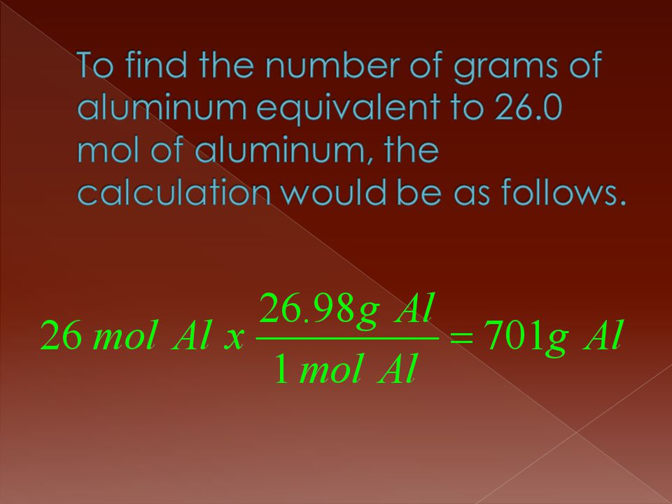 To find the number of grams of aluminum equivalent to 26