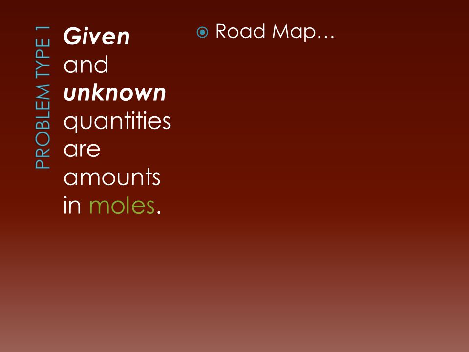 Given and unknown quantities are amounts in moles.