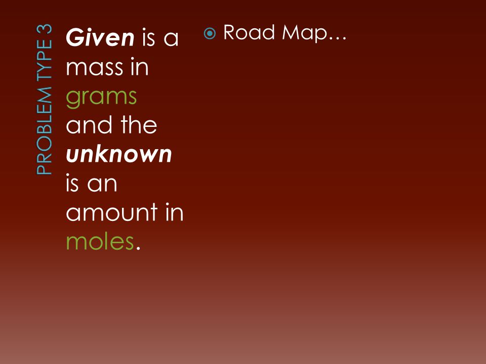 Given is a mass in grams and the unknown is an amount in moles.