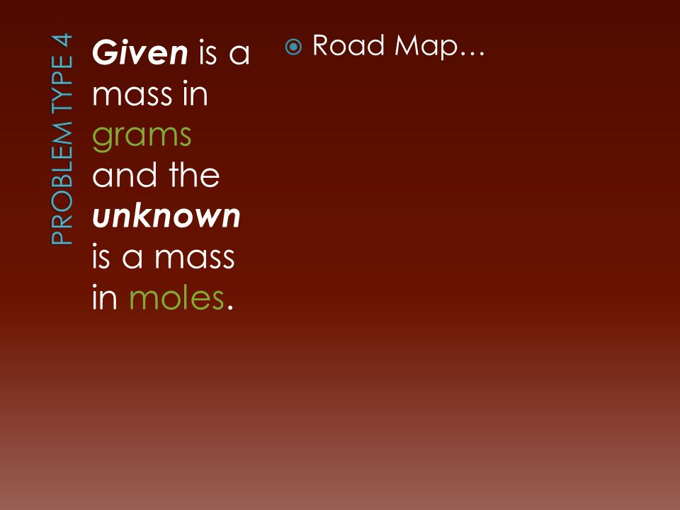 Given is a mass in grams and the unknown is a mass in moles.