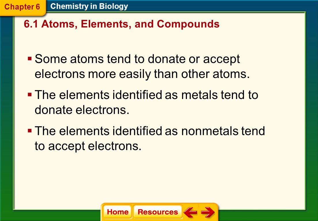 The elements identified as metals tend to donate electrons.